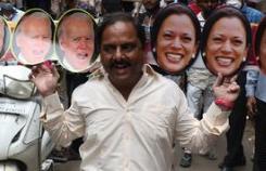 해리스 부통령 어머니의 고향 인도 축제 분위기