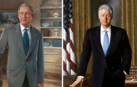 트럼프가 치운 클린턴·부시 초상화, 로비에 다시 걸려