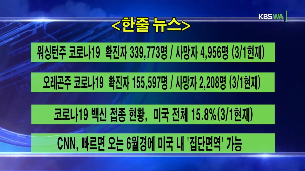 KBS-WATV 시애틀지역(서북미)한줄뉴스/ 주간날씨/ 뉴스게시판(20210301)