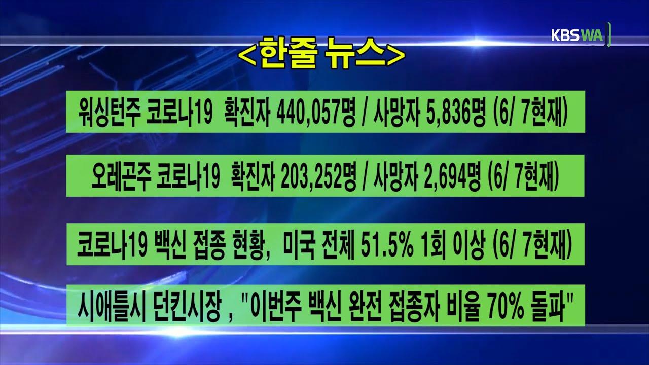 KBS-WATV 시애틀지역(서북미)한줄뉴스/ 주간날씨/ 뉴스게시판(20210607)